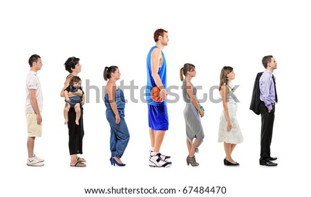 Full length portrait of different men and women standing together in a line isolated against white background
