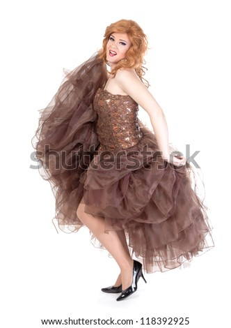 Full length portrait of drag queen. Man dressed as Woman, isolated on white background