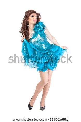Full length portrait of drag queen. Man dressed as Woman, isolated on white background - stock photo