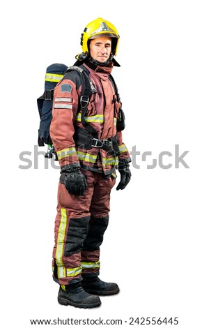 Full length portrait of Fireman in uniform isolated on white background. - stock photo