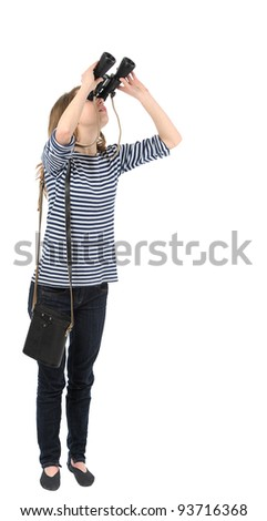 full length portrait of girl wth binocular looking up on white background - stock photo