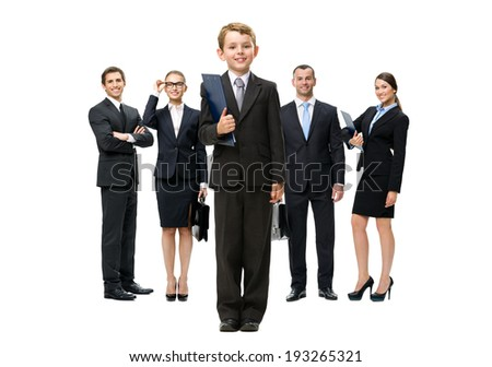 Full-length portrait of group of business people headed by a little businessman with folder in hands, isolated on white. Concept of leadership and success