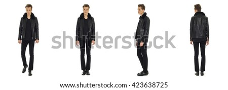 Full length portrait of handsome boy in jacket isolated - stock photo