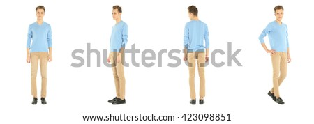 Full length portrait of handsome boy in pants isolated