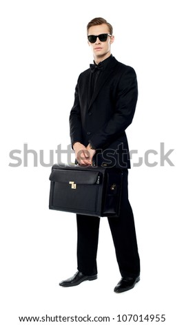 Full length portrait of handsome male with briefcase isolated over white background - stock photo