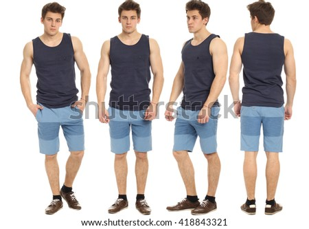 Full length portrait of handsome man in shorts