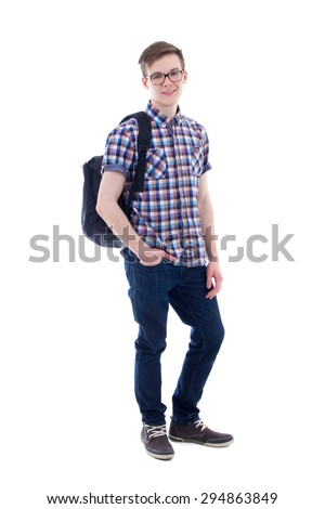 full length portrait of handsome teenage boy with backpack isolated on white background - stock photo