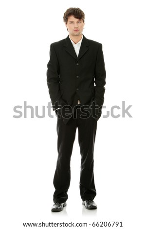 Full length portrait of handsome young businessman, isolated - stock photo