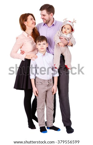 Full length portrait of happy and smiles family with two boys, child and infant on hands. Isolated on white background. Concept of young happy family - stock photo