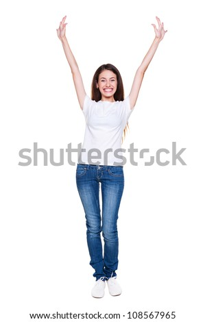 full length portrait of happy girl. isolated on white background - stock photo
