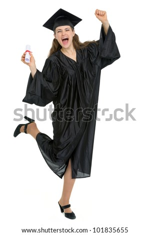 Full length portrait of happy graduation woman with diploma