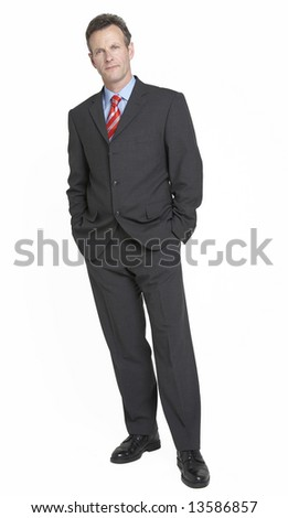 Full length portrait of happy relaxed businessman