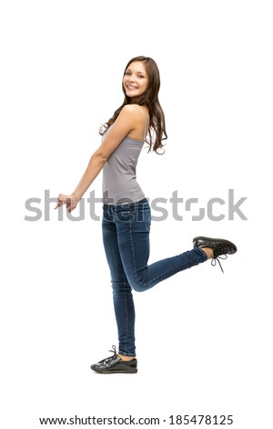 Full-length portrait of happy woman, isolated on white - stock photo