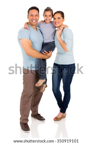full length portrait of happy young family isolated on white - stock photo