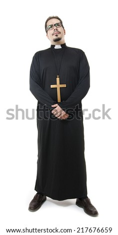 Full length portrait of isolated priest