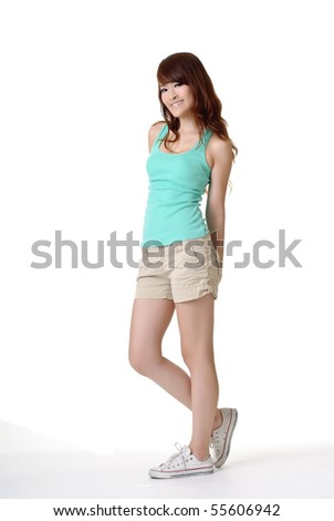 Full length portrait of leisure woman of Asian. - stock photo