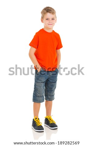 full length portrait of little boy isolated on white background - stock photo