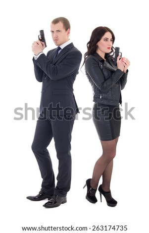 full length portrait of man and woman special agents with guns isolated on white  background - stock photo