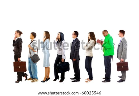 Full length portrait of men and women standing together in a line - stock photo