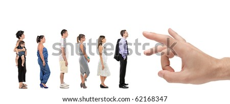 Full length portrait of men and women standing together in a line with a hand about to push them isolated against white background - stock photo