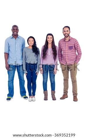 Full length portrait of multi-ethnic friends standing against white background - stock photo
