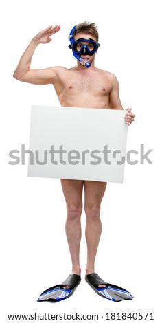 Full-length portrait of naked scuba diver with copyspace wearing only snorkel, goggles and fins, isolated on white - stock photo