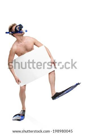 Full-length portrait of naked scuba diver with copyspace wearing only snorkel, goggles and fins, isolated on white background - stock photo