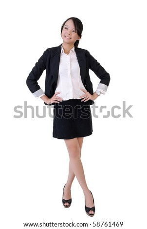 Full length portrait of office lady of Asian with smiling face isolated on white background. - stock photo