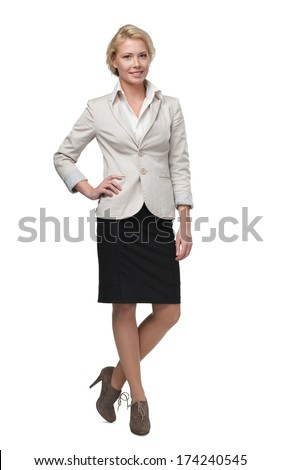 Full length portrait of pretty business woman, isolated on white - stock photo