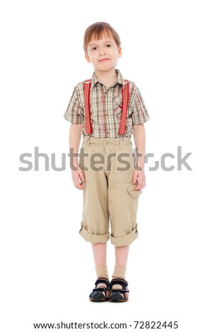 full-length portrait of pretty smiley boy. isolated on white - stock photo