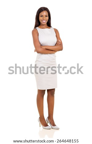 full length portrait of pretty young african woman on white background - stock photo