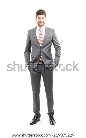 Full length portrait of professional sales man. Isolated on white background. - stock photo