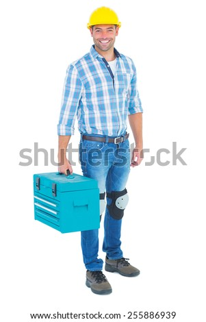 Full length portrait of repairman with toolbox on white background - stock photo