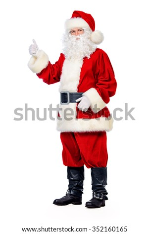 Full length portrait of Santa Claus. Christmas. Isolated over white. - stock photo