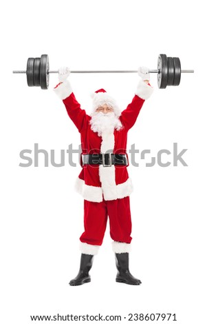 Full length portrait of Santa Claus lifting a heavy barbell isolated on white background - stock photo