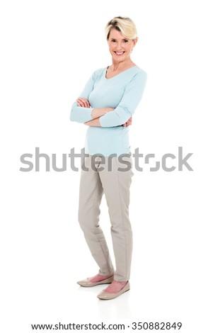 full length portrait of senior woman on white background - stock photo
