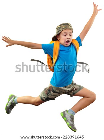 full length portrait of shouting jumping boy isolated over white - stock photo