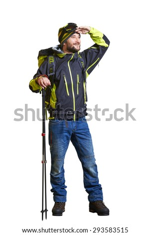 full length portrait of smiley hiker with backpack and hiking poles. looking forward. isolated on white background - stock photo