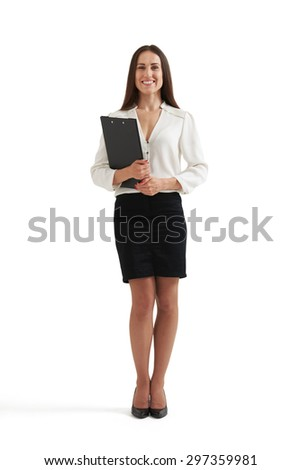 full-length portrait of smiley woman in formal wear holding folder and looking at camera. isolated on white background - stock photo