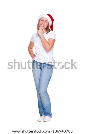full length portrait of smiley woman thinking about christmas. isolated on white background