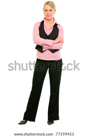 Full length portrait of smiling business woman with crossed arms on chest isolated on white - stock photo