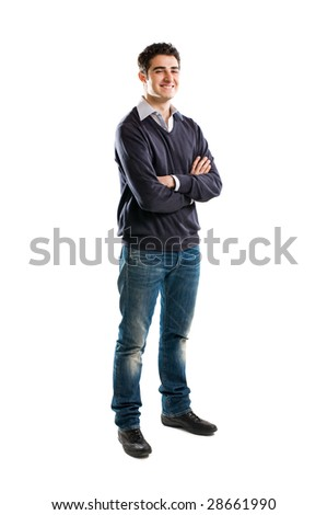 Full length portrait of smiling young man standing isolated on white background - stock photo