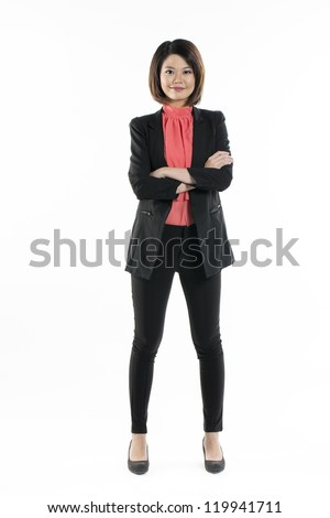 Full length portrait of stylish chinese woman wearing red blouse. Isolated on white background. - stock photo