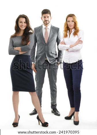 Full length portrait of successful sales team standing against white background.  - stock photo