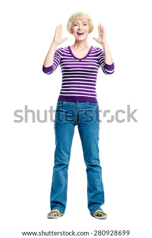 Full length portrait of surprised middle aged woman isolated on white background. - stock photo