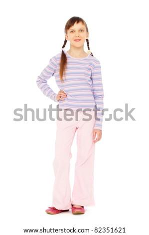 full length portrait of sweet small girl over white background - stock photo