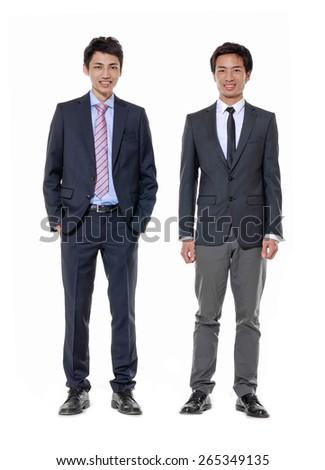 Full length portrait of two businessmen - stock photo