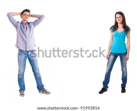Full length portrait of two persons, isolated on white - stock photo