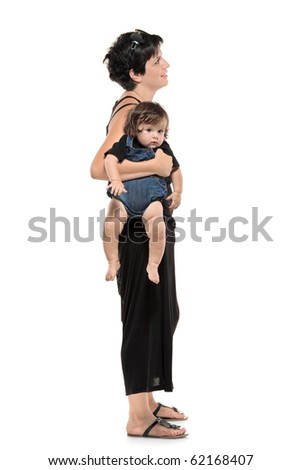 Full length portrait of woman with her baby boy waiting in line isolated against white background - stock photo