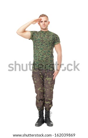 Full length portrait of young army soldier saluting isolated on white background - stock photo